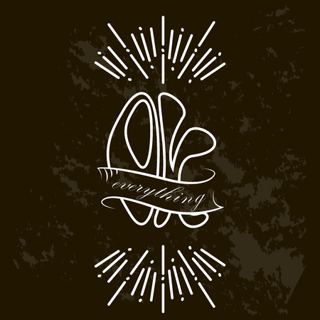 Design for t-shirt print with the words Ok everything. Vector illustration. Grunge effect in separate layer.