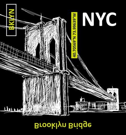 New York Brooklyn bridge illustration, typography tee design. Vector illustration, element vintage artistic apparel product