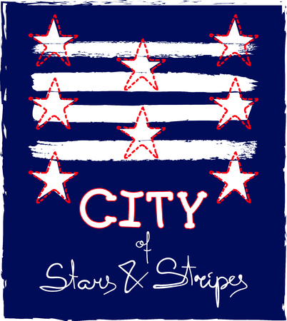 City of stars and stripes. Fashion Slogan T-shirt and apparels graphic vector Print. Ilustração