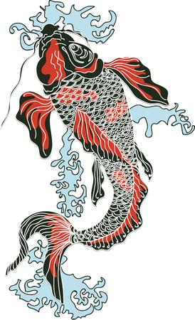 Carpa Koi - arte digital. Símbolo de Japón como felicidad, riqueza, coraje, suerte y amor