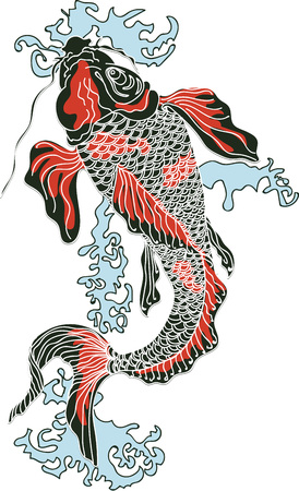 Koi Carp - art numérique. Symbole du Japon comme bonheur, richesse, courage, chance et amour
