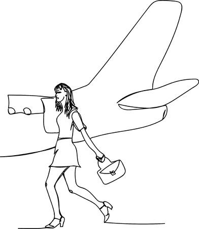 niña y avión Ilustración de vector