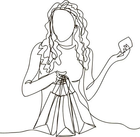Mujer de compras con bolsas y tarjeta de crédito