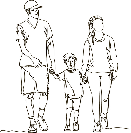 Mother, father and child