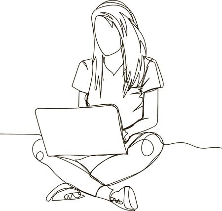 Femme assise avec un ordinateur portable - dessin d'une seule ligne