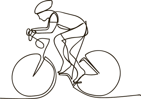 One Line Drawing or Continuous Line Art of a Bicycle Athlete. Vector Illustration  イラスト・ベクター素材