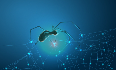 Spider and torn web. Scary spiderweb of halloween symbol. Stock Photo