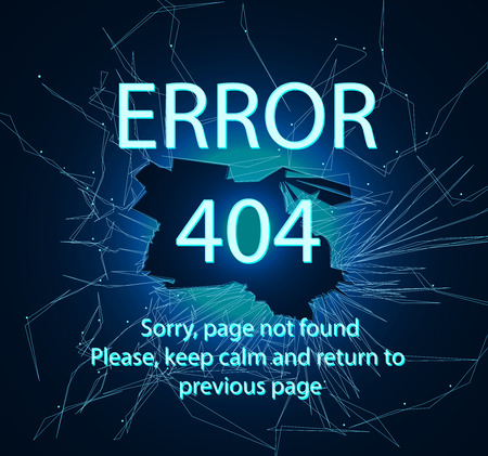 404 error page, vector template. Cracked screen