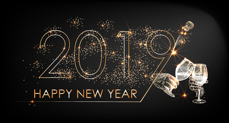 New Year 2019 line design firework champagne gold and black vector Ilustração