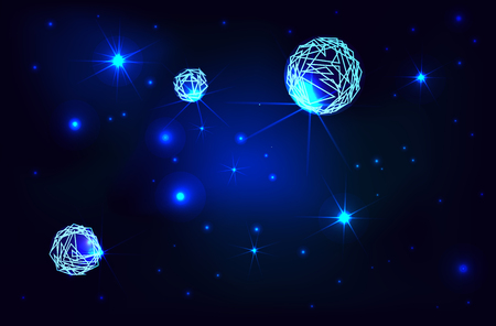 Space. Cosmic background with shining stars and planets Ilustração