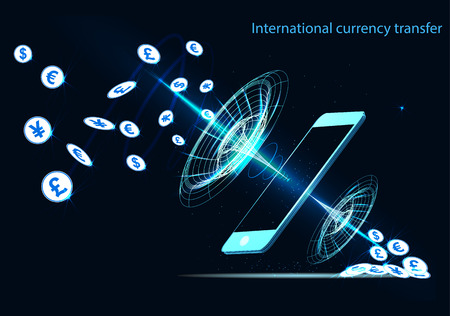 International currency transfer, payment via a smartphone using a smartphone
