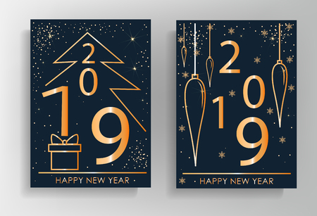 2019. New Year greeting card design with stylized Christmas tree, snowflakes and decorations. Vector golden line illustration Vectores
