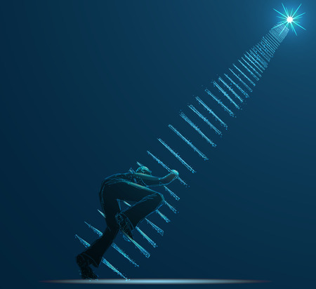 Reaching the Stars. Businessman steps onto ladder pointing to the star. Business concept illustration