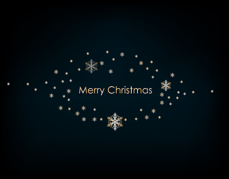 2019. Christmas background with Shining gold Snowflakes