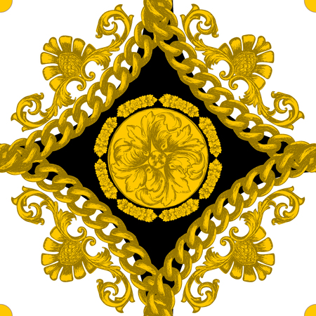 Seamless pattern with golden baroque elements. Vectores