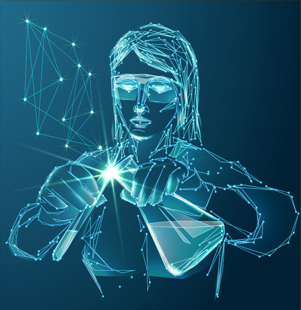 Vector of modern science abstract polygonal background with scientific laboratory assistant in lab with test tubes.