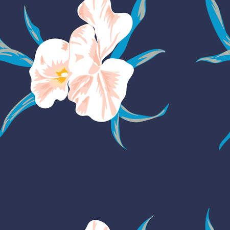 Floral seamless pattern with beautiful pink flowers.Tropical design. Exotic flowers. Pattern for summer fashion prints. Blooming jungle. Dark blue background. Vector illustration. Vectores