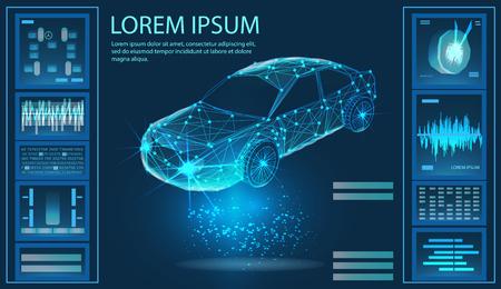 Car service. Futuristic user interface. Abstract virtual graphic touch user interface. Virtual graphical interface Ui HUD Autoscann. Vector