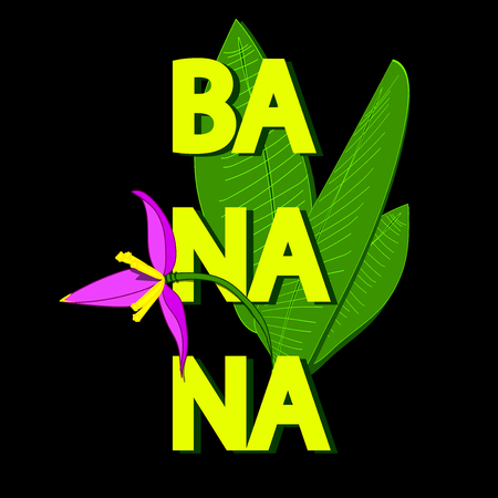 Typography slogan with banana illustration Banana