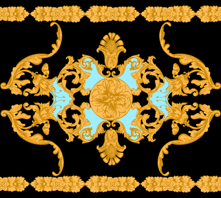 Seamless pattern with golden baroque elements. 向量圖像