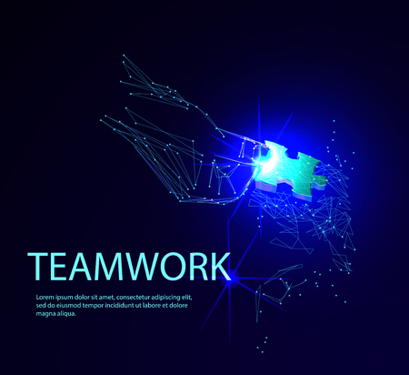 Abstract puzzle on dark blue background. Network or teamwork symbol composed of polygons. Low poly vector illustration of a starry sky or Cosmos, consists of lines, dots and shapes Banco de Imagens - 123516894