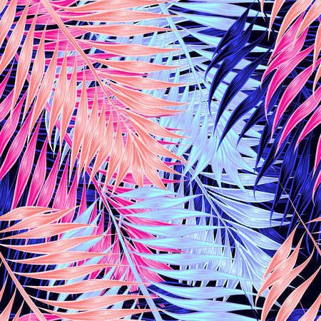 Seamless pattern of tropical leaves of palm tree Banco de Imagens - 123516898