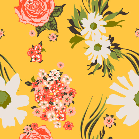 Floral seamless pattern with beautiful pink roses and white flowers.Tropical design. Exotic flowers. Pattern for summer fashion prints. Blooming jungle. Yellow background. Vector illustration.