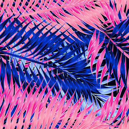 Seamless pattern of tropical leaves of palm tree 스톡 콘텐츠 - 123516909