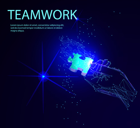 Abstract puzzle on dark blue background. Network or teamwork symbol composed of polygons. Low poly vector illustration of a starry sky or Cosmos, consists of lines, dots and shapes 向量圖像