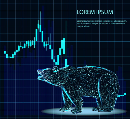 Stock exchange trading banner. The bulls and bears struggle. Equity market concept illustration. Abstract image in the form of a starry sky or space, consisting of points, lines, and shapes in the form of planets, stars and the universe. Vector wireframe concept. Ilustração