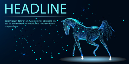 Horse run gallop from lines, triangles and particle style design. Illustration vector