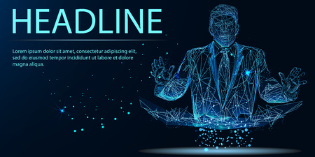 Successful businessman in a finishing line from lines, triangles and particle style design. Illustration vector. Headline