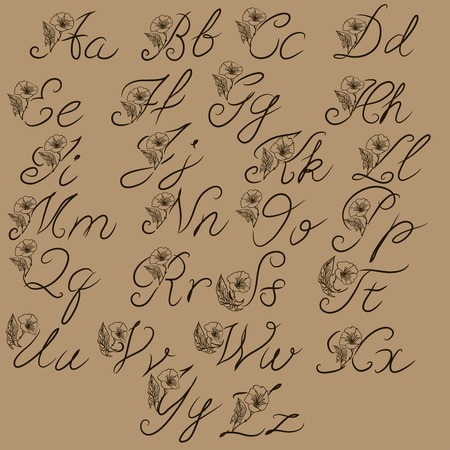 Calligraphy alphabet. Decorative handwritten brush font. Vector letters. Wedding calligraphy. ABC for your design. Floral lettering Vectores