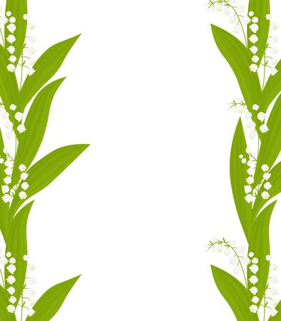 Frame postcard lilies of the valley flowers vector botanical illustration