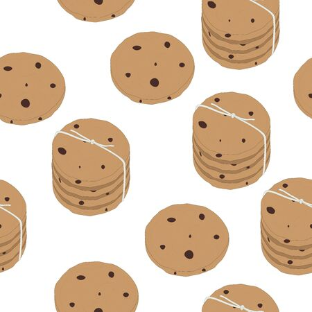 Nahtlose Muster Kekse Vektor Essen Illustration Scrapbooking Tapetendruck auf Stoff Vektorgrafik