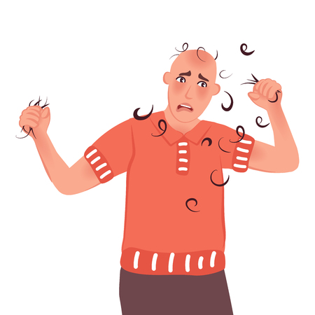 The bald man finally lost all the hair on his head. Baldness, alopecia, hair loss. Vector illustration