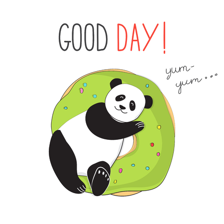 Panda on a delicious donut. The typographic slogan of a good day. Vector illustration