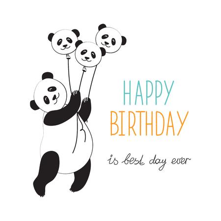 Panda hot air balloon. Typographic slogan happy birthday. Vector illustration congratulations