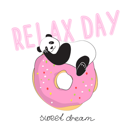 Panda likes donuts. Cool sticker for patch, poster, diary, laptop or smartphone. Fashion for teenagers. Vector illustration Illustration