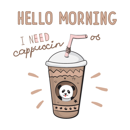 Vector illustration of a glass of coffee and the slogan Hello morning. Cool sticker for patch, poster, diary, notebook, smartphone or textile. Original funny drawings for prints
