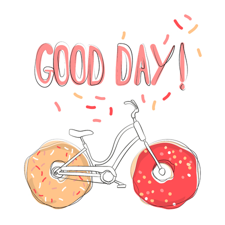 Positive illustration with the words Good day. Unique design for printing on t-shirt, for sticker, salary, poster, personal diary. Suitable for youth style. Funny vector clip art