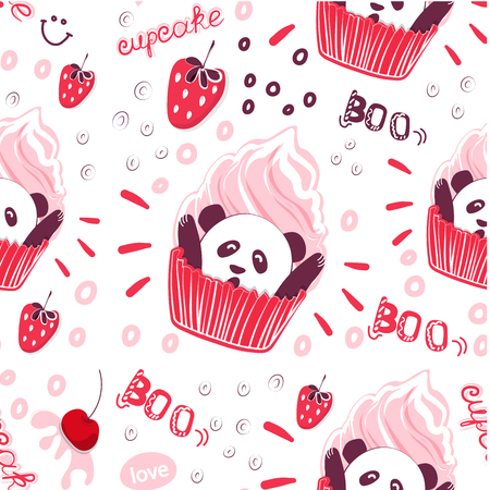 Original seamless pattern penny and berries. Funny background for printing on fabric, wall decoration in cafe and pastry shop. Vector cliparts sweet pastries