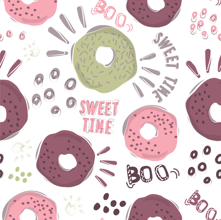The stylish pattern of the donut. Cool background for printing on fabric, paper, Wallpaper for decorating walls in cafe and pastry shop. Vector cliparts sweet pastries Illustration