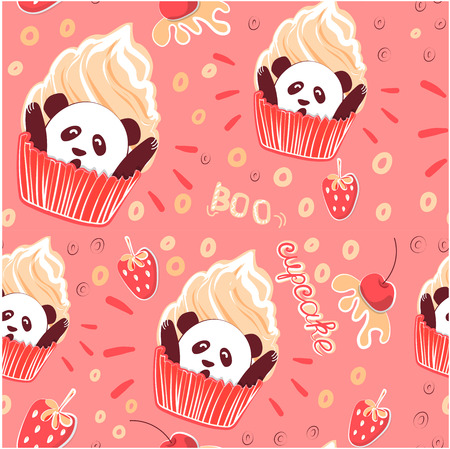 Humorous sweet Panda cupcake. Suitable for Wallpaper, wrapping paper, baby textiles, wall decoration in cafe and bakery. Vector illustration of baking