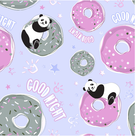 Background Panda and donuts for bed linen, baby textiles, pajamas, postcards. Phrase a quiet night. Seamless vector pattern