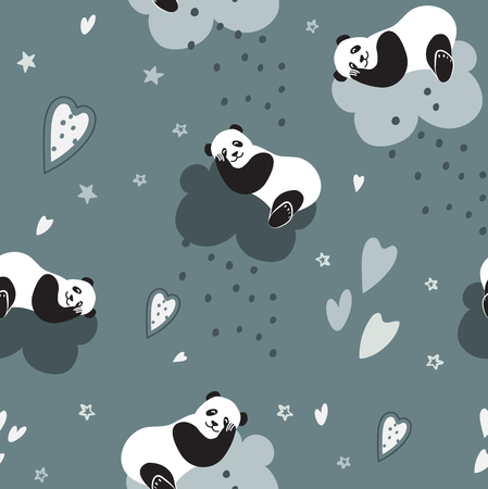 Cute pandas sleep on a cloud and dream. Seamless vector pattern for baby and bed linen and textiles. Interior decor of children's rooms, Wallpaper, packaging paper Ilustração