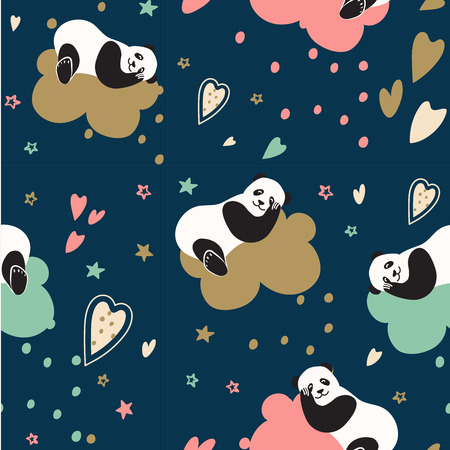 Fashion for children. Cute pandas sleep on a cloud and dream. Seamless vector pattern for baby and bed linen and textiles. Interior decoration of childrens rooms, Wallpaper, wrapping paper