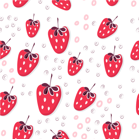 Appetizing strawberry seamless pattern. Juicy, bright and fresh strawberries are flying. Summer mood. Berry textiles, wrapping paper, background design-vector graphics