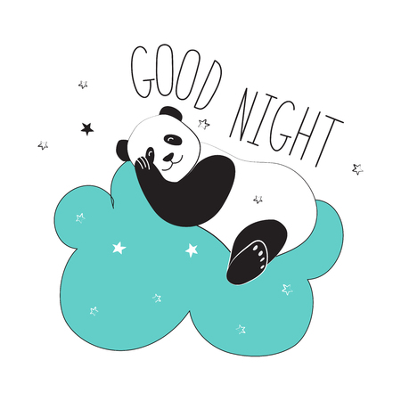 Panda sleeps on a cloud. The typographic slogan of good night. Vector illustration Reklamní fotografie - 122792136