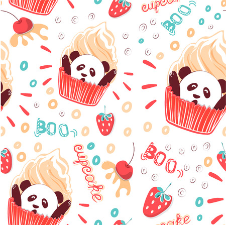 Funny seamless pattern sweet Panda cupcake. Suitable for packaging paper, textiles, wall decoration in cafe and pastry shop. Vector cliparts sweet pastries